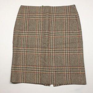 Talbots brown plaid pencil skirt.  4P